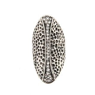 Cam & Zooey Silvertone Clear Crystal Stretch Ring