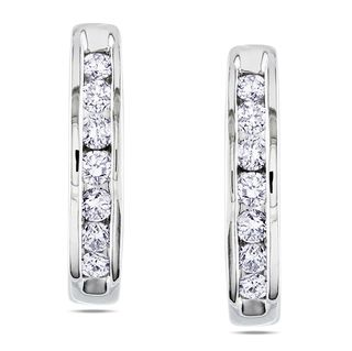 Miadora 10k White Gold 1/4ct TDW Diamond Hoop Earrings