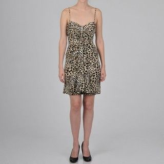 Onyx Nite Womens Leopard print Sweetheart Bodice Dress