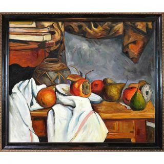 Cezanne Ginger Pot with Pomegranate and Pears Hand painted Framed
