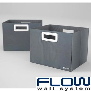 Flow Wall Decor Jumbo Collapsible Titanium Storage Bins (Set of 2