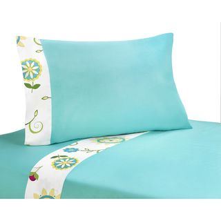 Sweet JoJo Designs Turquoise and Lime Layla Bedding Collection Cotton