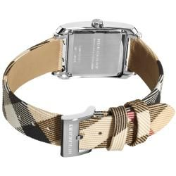 Burberry Womens Nova Check Nylon Leather Strap Watch