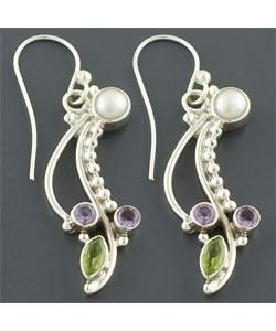 Sterling Silver Cultured Pearl Long Earrings (India)