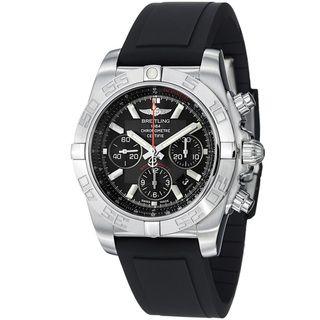 Breitling Mens Chronomat Black Dial Black Rubber Strap Quartz Watch