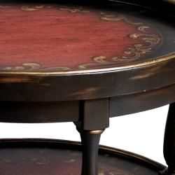 Hand painted Black/ Red Round Accent Table