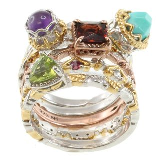 Michael Valitutti Two Tone Multi Gem Stacking Ring Set