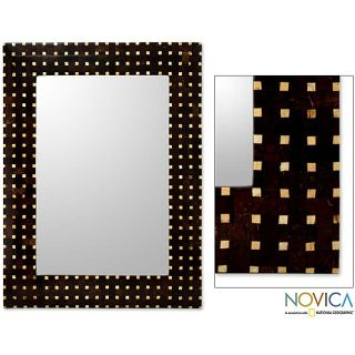 Handcrafted Coconut Shell Points of Light Wall Mirror (Indonesia