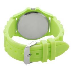 Geneva Platinum Womens Rhinestone accented Neon Green Silicone Watch
