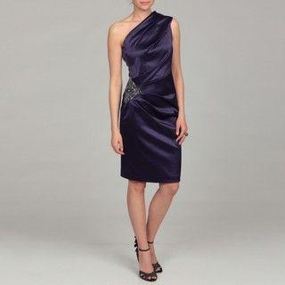 Eliza J Womens Purple Beaded Ruched Dress