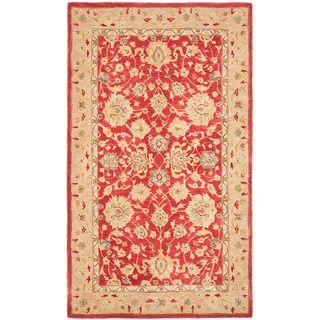 Handmade Traditional Mahal Ancestry Red/ Ivory Wool Rug (5 x 8