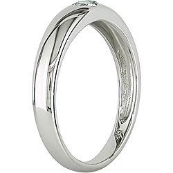 Miadora 10k White Gold and White Sapphire Ring