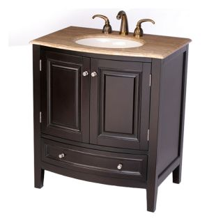 Silkroad Exclusive 32 inch Travertine Stone Top Bathroom Vanity