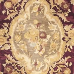 Handmade French Aubusson Red Premium Wool Rug (36 Round)