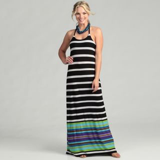 Abs Womens Black/ White Striped Braided Maxi Dress