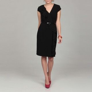 Sandra Darren Womens Black Dress