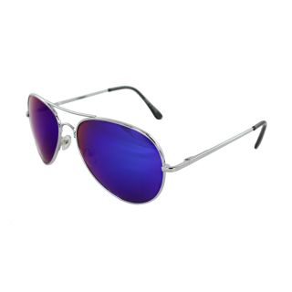 Unisex 30011R SVRBUGNMR Metal/ Blue Mirror Aviator Sunglasses Today $