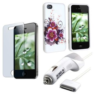 TPU Rubber Case/ Screen Protector/ Car Charger for Apple iPhone 4