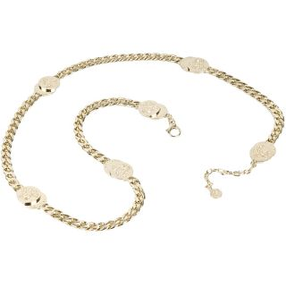 Versace Womens Round Logo Chain Link Belt