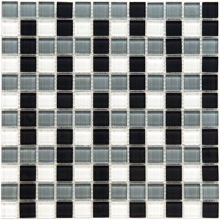 SomerTile 12x12 in View Basket 1 in Monochrome Glass Mosaic Tile (Case