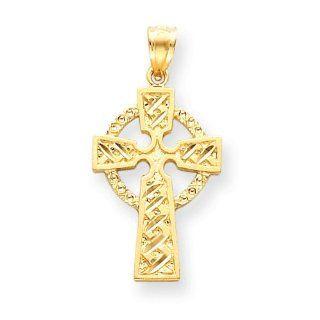 14k Gold Diamond cut Celtic Cross Pendant Jewelry