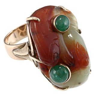 14k Yellow Gold Carved Jade and Emerald Sea Lion Estate Ring