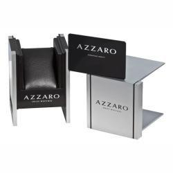 Azzaro Mens Legend Rectangular Chrono Silver Face Rose PVD Watch