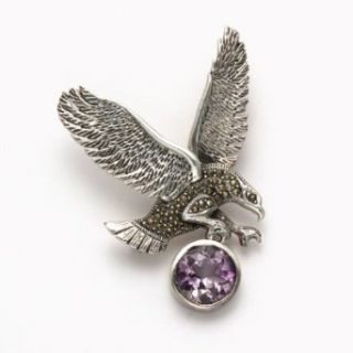 Flying Eagle Marcasite with Amethyst Pin Clothing