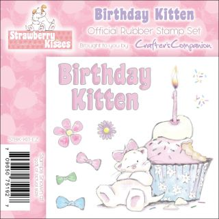 Crafters Companion Strawberry Kisses Birthday Kitten EZMount Cling
