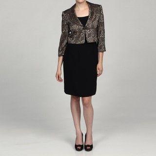 Jessica Howard Petite Black/Champagne 2 Piece Dress