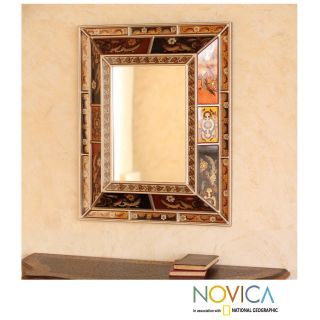 Reverse painted Glass Warmth of the Earth Mirror (Peru) Today $259