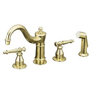 Kohler K 158 4 PB Vibrant Polished Brass Antique Kitchen Sink Faucet