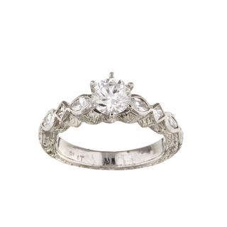 Tacori Platinum CZ and 2/5ct TDW Diamond Engagement Ring (G, VS