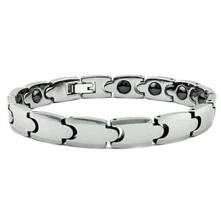 Mens Tungsten Carbide Germanium Magnetic Link Bracelet (9 mm