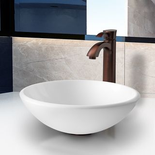 VIGO White Phoenix Stone Glass Vessel Sink and Oil Rubbed Bronze