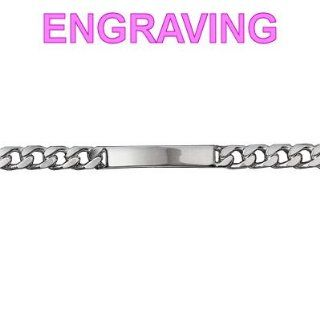 Mens 21 cm Sterling Silver Curb Link ID Bracelet   Your