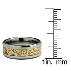 Mens Tungsten Carbide Gold Dragon Design Ring (8 mm)