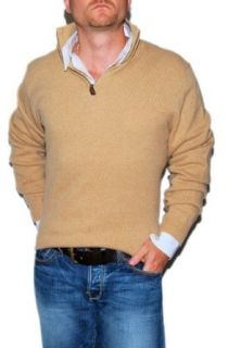 Polo Ralph Lauren Mens Lambs Wool Half Zip Sweater Camel
