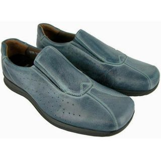 Bacco Bucci Mens Score Grey/ Blue Leather Loafers