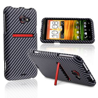 Carbon Fiber Snap on Rubber Coated Case for HTC EVO 4G LTE