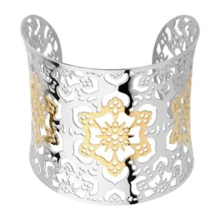 Inox Gold plated Stainless Steel Flower Design Bangle Bracelet