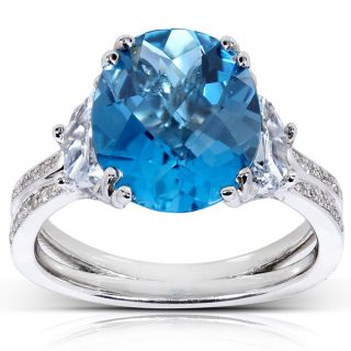 14k White Gold London Blue Topaz and 7/8ct TDW Diamond Ring (G H, VS1