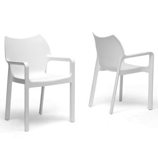 Limerick White Plastic Stackable Modern Dining Chairs (Set of 2
