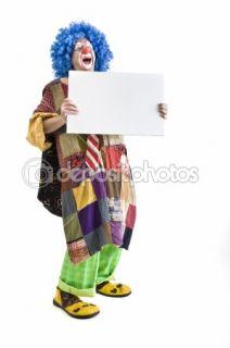 Clown holding sign  Stock Photo © Noam Armonn #1337574