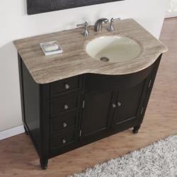 Silkroad Exclusive Travertine Stone Top Bathroom Single Vanity