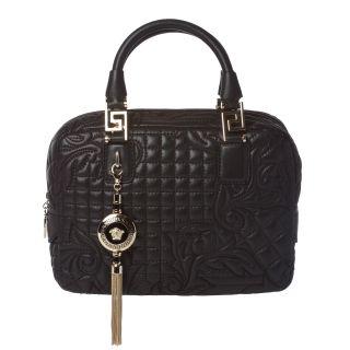 Versace Vantias Quilted Black Leather Satchel Bag