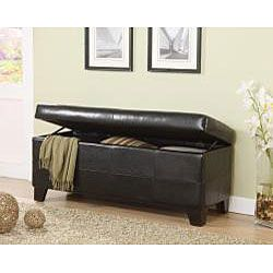 Black Synthetic Leather Storage Bench