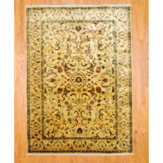 Indo Hand knotted Isfahan Gold/ Teal Wool Rug (63 x 9)