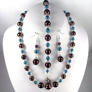 Chocolate and Montana Blue Pearl Jewelry Set
