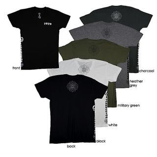 1979 Collection Mens Graphic Fleur de lis Cross V neck T shirt